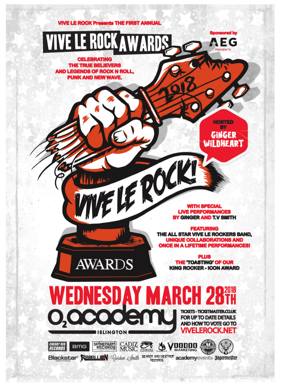 We're delighted to be one of the sponsors of the Vive Le Rock Awards
